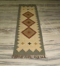 Oriental Indian Natural Jute Kilim Runner Hallway Kitchen Carpet 2x6 Ft DN-2121
