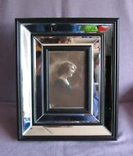 Art Deco Style Bevelled Mirror Black Resin Framed Photo Frame