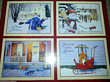 28 Christmas Cards by Lang 4 Designs 2008 Boxed Set Home For Holiday Snowman New