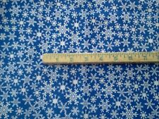 1 yard Christmas/ Holiday/Winter Snowflakes/ Snow on Blue 100% Cotton Fabric