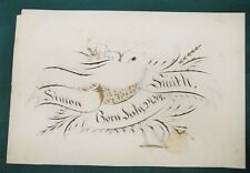 1844 antique ORIGINAL FRAKTUR BIRTH PENMANSHIP FOLK ART ~SIMON SMITH aafa bird