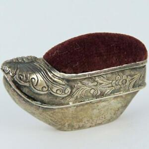 ANTIQUE CHINESE EXPORT BUTTERFLY SLIPPER FIGURAL ENGRAVED SILVER PIN CUSHION