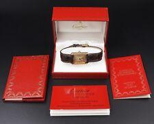 Must de Cartier Tank Vermeil 18k 925 Ladies Watch Original Box Papers W280