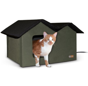 K&H Pet Products Extra Wide Outdoor Heated Cat House, Olive