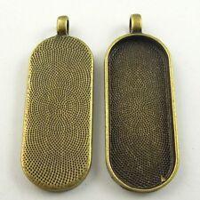 09039 Antiqued Bronze Tone Alloy Simple Oval Cameo Setting Pendant 45*18mm 10PCS