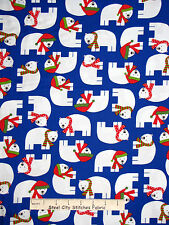 Christmas Fabric - Holiday Polar Bear Animals Blue #15267 Kaufman Jingle - Yard