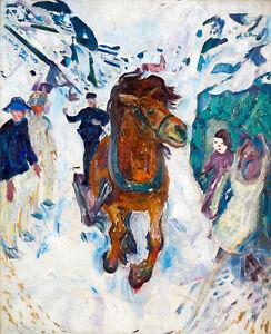 Galloping Horse by Edvard Munch 75cm x 61cm High Quality Art Print