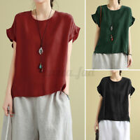 Womens Flutter Sleeve T Shirts Tee Casual Loose Tops Plain Basic Blouse Pullover