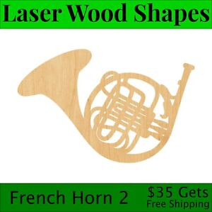 French Horn 2 Laser Cut Out Wood Shape Craft Supply - Woodcraft Cutout