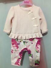 Baby Girls Designer Ted Baker Pink Floral Peplum Quilted Romper Suit 3-6m💗💗