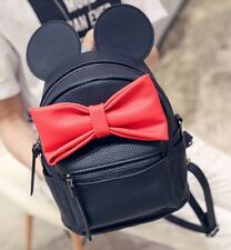 *US SHIP* New MINNIE MOUSE inspired Faux Leather Black Mini Backpack shoulder