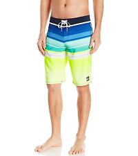 $50 Quiksilver Men's Everyday Stripe 21 Boardshort Navy-Yellow Surf Size 28