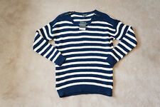 Top Shop BNWT New Womens Blue & White Striped Jumper UK 12 Ladies with tags