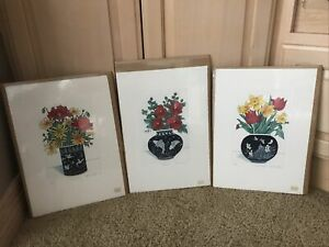 THREE SEALED Floral Hand Signed-Numbered Original Color Etchings By ARNOLD IGER