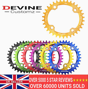 MTB Oval Chain Ring Wide / Narrow Teeth 30 32 34 36 38t Red Gold Blue 104bcd