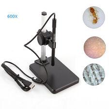 USB Digital Microscope 1X~600X 2MP Magnifier Endoscope LED Zoom Video Camera PC