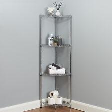 4 Tier Corner Bathroom Storage Shelves Metal Chrome Shelving Unit Display Rack