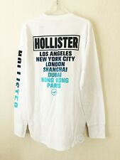 NWT Hollister Men's Print Graphic Long Sleeve Tee Shirt White Size L