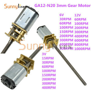 15-2000RPM Micro Electric Gearmotor Gear Motor Low-speed Gearbox DC 3V/6V/12V