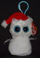 TY BEANIE BOOS - TINSEL the OWL KEY CLIP - MINT with MINT TAG