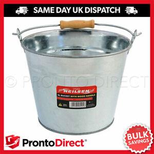 5L Metal Bucket Galvanised Strong Steel Water Coal Fire Garden Wooden Handle