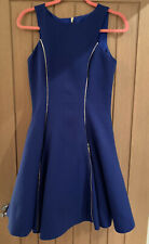 Forever Unique Cobolt Blue Quilted Fit & Flare Gold Zip Dress Size 10