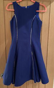 Forever Unique Cobolt Blue Quilted Fit & Flare Gold Zip Dress Size 10