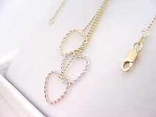 DANGLING TRI COLOR HEARTS 10K YELLOW GOLD NECKLACE 17  INCHES