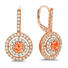 2.4ct Round Cut Halo Red Simulated Diamond Drop Dangle Earrings 14k 2 tone Gold