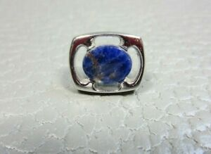Vintage Blue Lapis Stone White Gold Plated Tie Tac or Lapel Pin