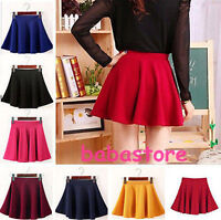 Women's Mini Skirt Vintage Stretch High Waist Plain Skater Flared Pleated OE