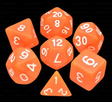 7 Piece Polyhedral Dice Set - Sun Stone Frosted Translucent Orange - Brown Bag