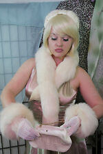 Large Cream White Arctic Silver Fox Fur Stole Shawl Scarf Wrap & CUFF 2PC SET