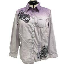 Style & Co Blusa Púrpura y Blanco Manga Larga Talla 14 Con 100% Algodón