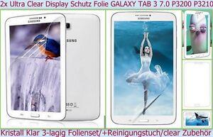 2x Kristall Klar Display Schutz Folie Samsung GALAXY TAB 3 7.0 SM-210 3200 Clear
