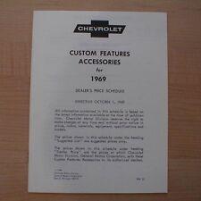 1969 Chevrolet Full Line Custom Feature Accessories Price List Brochure 69