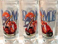 "Hard Rock Cafe ROME ITALY 2005 City Tee T-Shirt 4"" SHOT GLASS Cordial Vespa Girl"