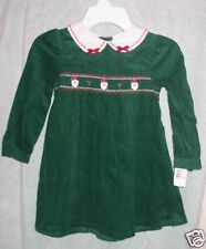 GREEN CORD SMOCK CHRISTMAS DRESS W/SANTAS SZ 2T NWT $34