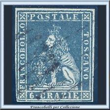 ASI 1851 Toscana 6 crazie ardesia su grigio n. 7 Usato Diena Antichi Italia