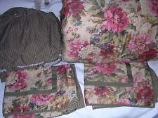 011O Ralph Lauren Chaps Rosemont Full Comforter Bedskirt Shams Floral Check