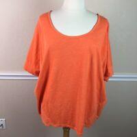 Lane Bryant Womens Topl Cotton Slub Knit Orange Dolman Back Zip Plus Size 26 28