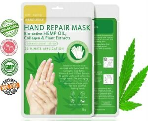 Hemp Oil Collagen Hand Moisturising Gloves Mask Anti Aging Repair Dry Rough Skin