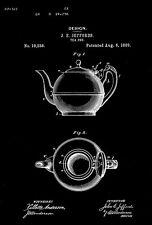 1889 - Tea Pot - J. E. Jeffords - Patent Art Poster