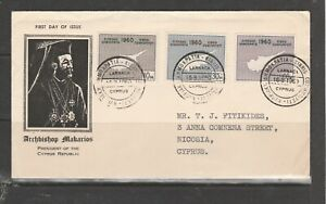 Cyprus FDC 1960 Republic, Illus, Larnaca cancel, Typed address,