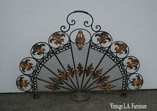 Vintage French Country Peacock Metal Black & Gold Fireplace Screen w Flourishes