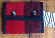 Urban Outfitters Spurling Lakes Red Buffalo Plaid Buttons Trifold Wallet NWT P-4