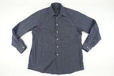 HUGO BOSS MENS dress shirt long sleeve SZ 42 Gray Blue Strips Shirt