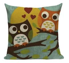 Owls On Branch O5 Love Owls Cartoon Cushion Pillow Cover Animation Funny Cute