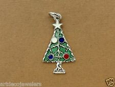 Vintage silver CHRISTMAS TREE & ORNAMENTS ENAMEL BRACELET charm NEW OLD STOCK #F