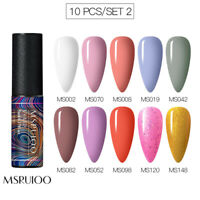 MSRUIOO 4/6/10Colors Set Gel Nail Polish UV LED Soak Off Pure Glitter Manicure